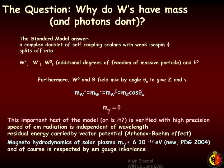 The Question: Why do W's have mass