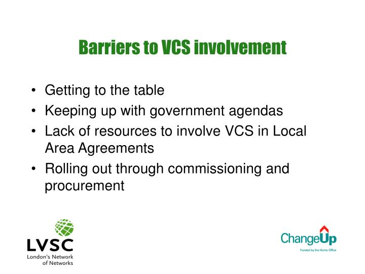 Barriers to vcs involvement
