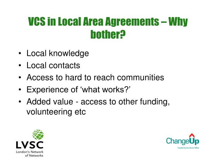 Vcs in local area agreements why bother