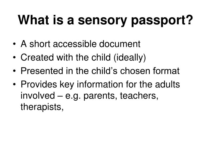 What is a sensory passport?