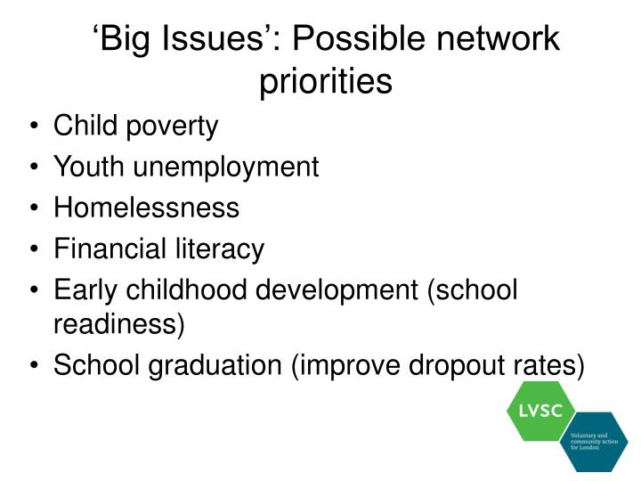 'Big Issues': Possible network priorities