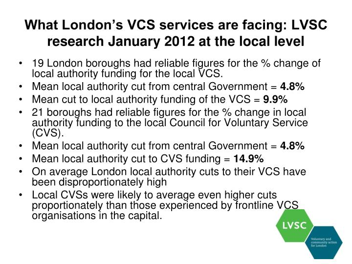 What London's VCS services are facing: LVSC research January 2012 at the local level