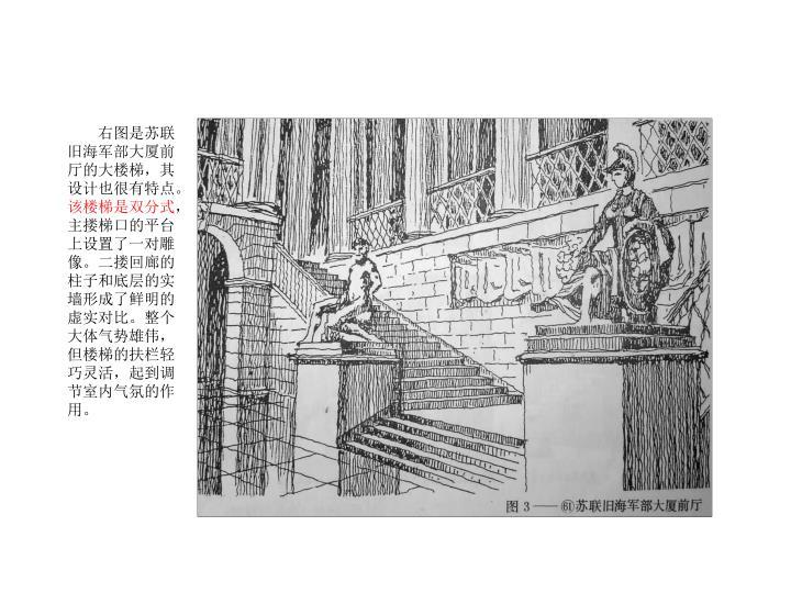 右图是苏联旧海军部大厦前厅的大楼梯,其设计也很有特点。