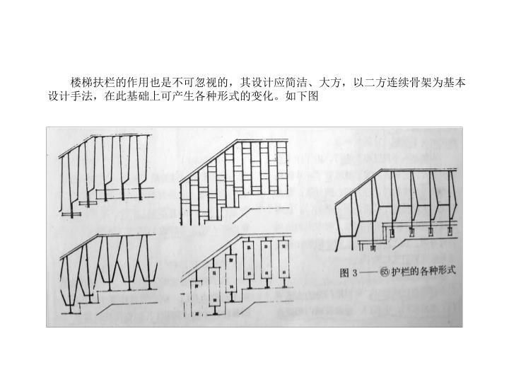 楼梯扶栏的作用也是不可忽视的,其设计应简洁、大方,以二方连续骨架为基本设计手法,在此基础上可产生各种形式的变化。如下图