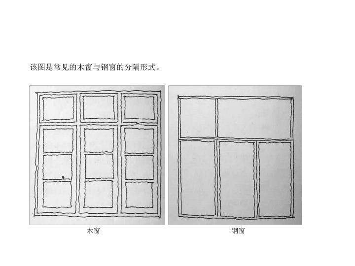 该图是常见的木窗与钢窗的分隔形式。
