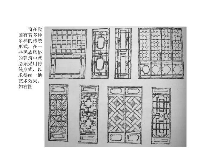 窗在我国有着多种多样的传统形式,在一些民族风格的建筑中就必须采用传统形式,以求得统一地艺术效果。如右图
