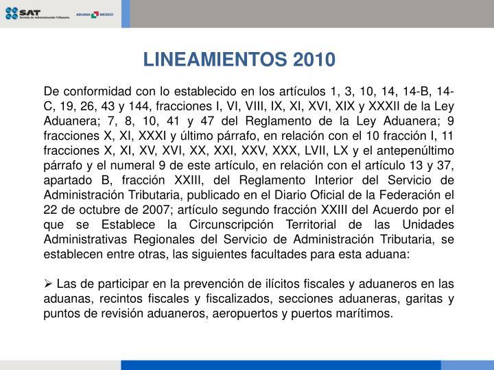 LINEAMIENTOS 2010