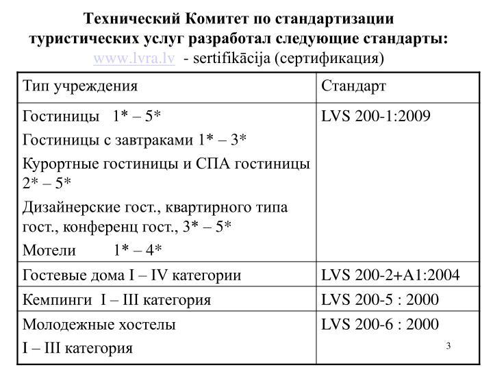 Технический Комитет по стандартизации туристических услуг разработал следующие стандарты