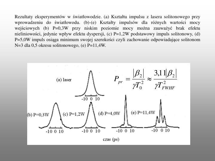 Rezultaty eksperymentów w światłowodzie