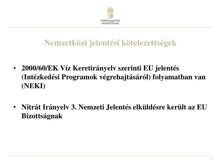 Nemzetközi jelentési kötelezettségek
