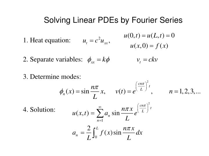 Solving Linear PDEs by Fourier Series