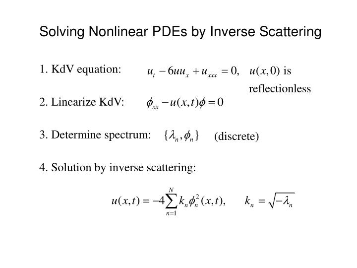 Solving Nonlinear PDEs by Inverse Scattering