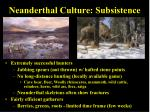 neanderthal culture subsistence
