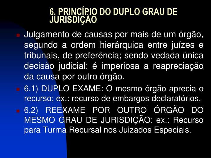6. PRINCÍPIO DO DUPLO GRAU DE JURISDIÇÃO