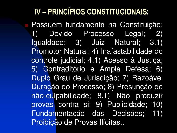 IV – PRINCÍPIOS CONSTITUCIONAIS: