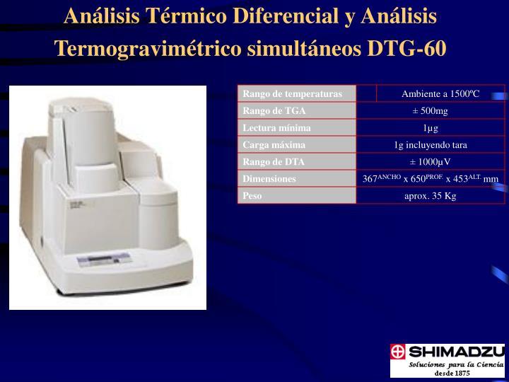 Análisis Térmico Diferencial y Análisis Termogravimétrico simultáneos DTG-60