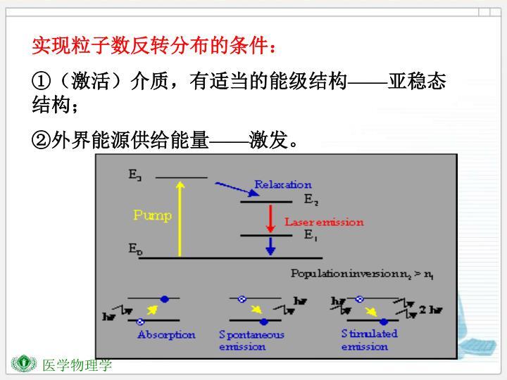 实现粒子数反转分布的条件: