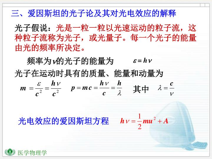 三、爱因斯坦的光子论及其对光电效应的解释