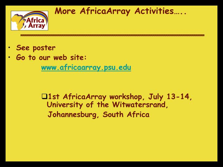 More AfricaArray Activities…..