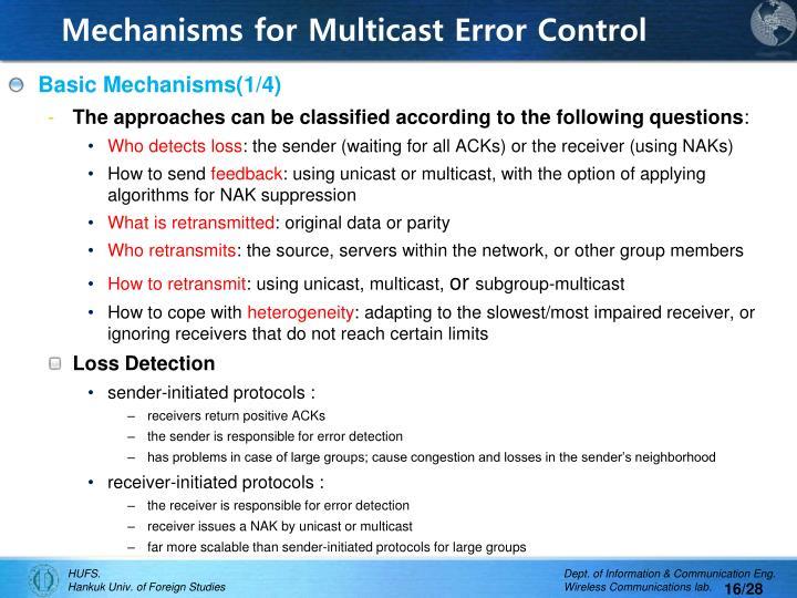 Mechanisms for Multicast Error Control