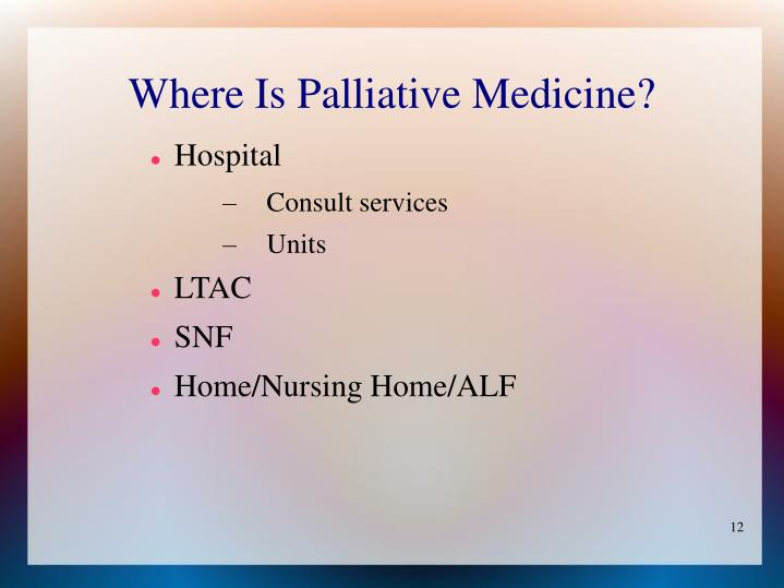 Where Is Palliative Medicine?