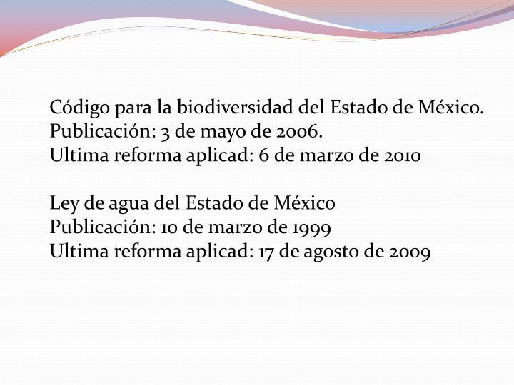 Código para la biodiversidad del Estado de México.