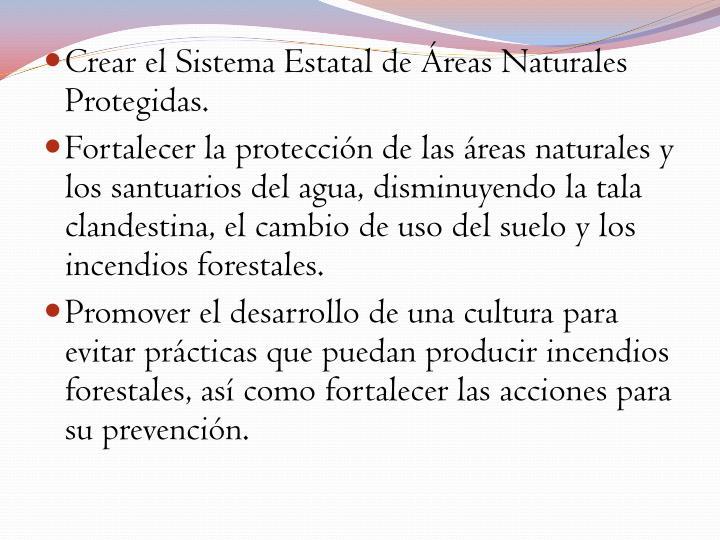 Crear el Sistema Estatal de Áreas Naturales Protegidas.