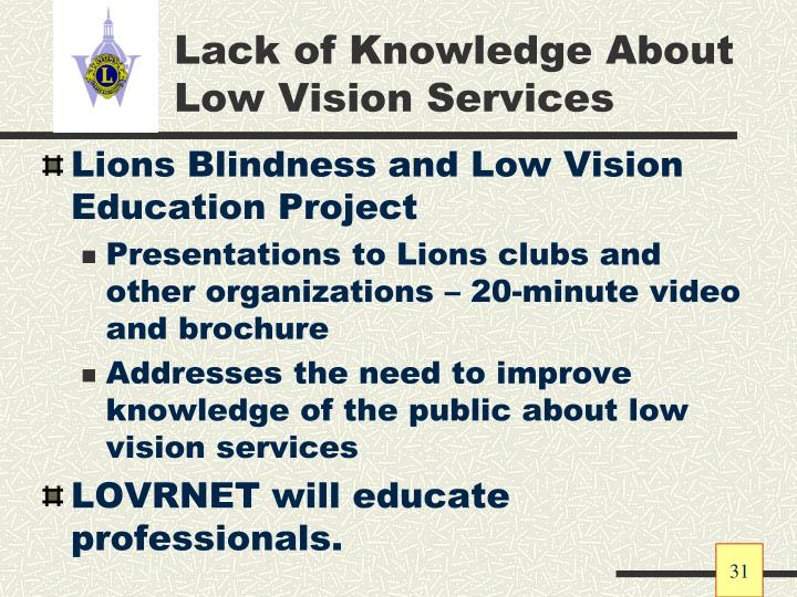 Lack of Knowledge About Low Vision Services