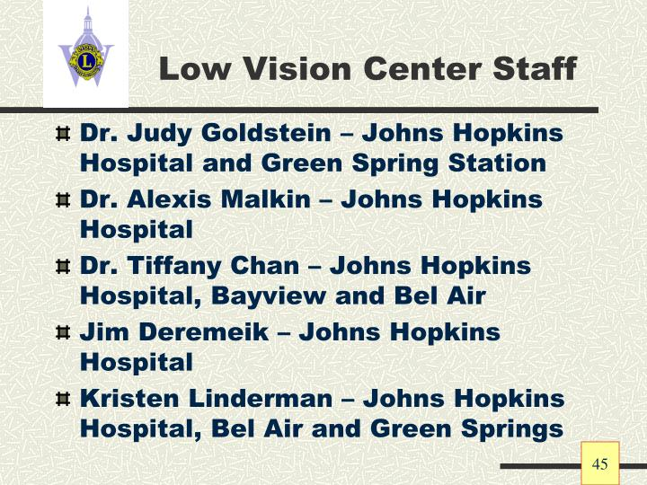 Low Vision Center Staff