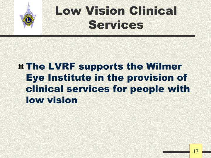 Low Vision Clinical Services