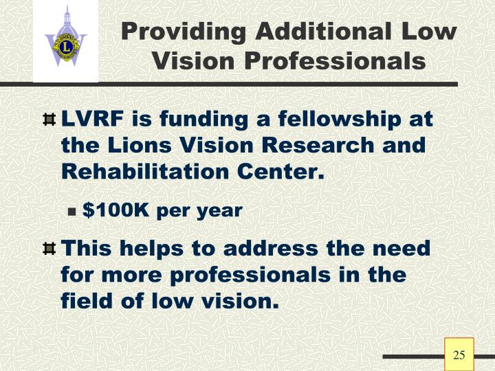 Providing Additional Low Vision Professionals