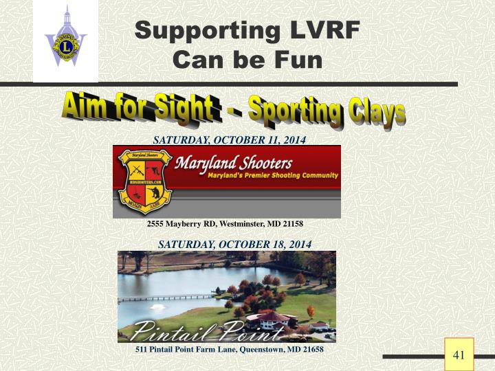 Supporting LVRF