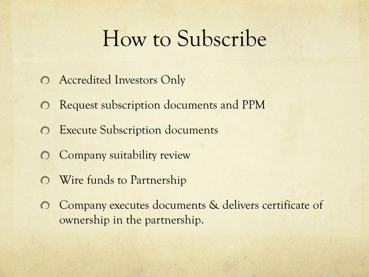 How to Subscribe