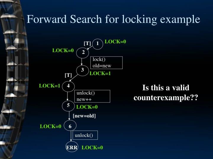 Forward Search for locking example