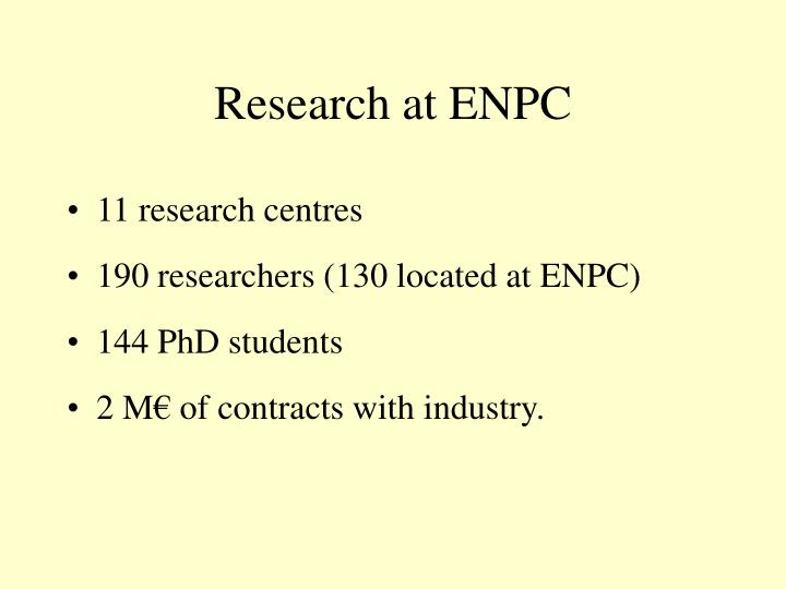 Research at ENPC