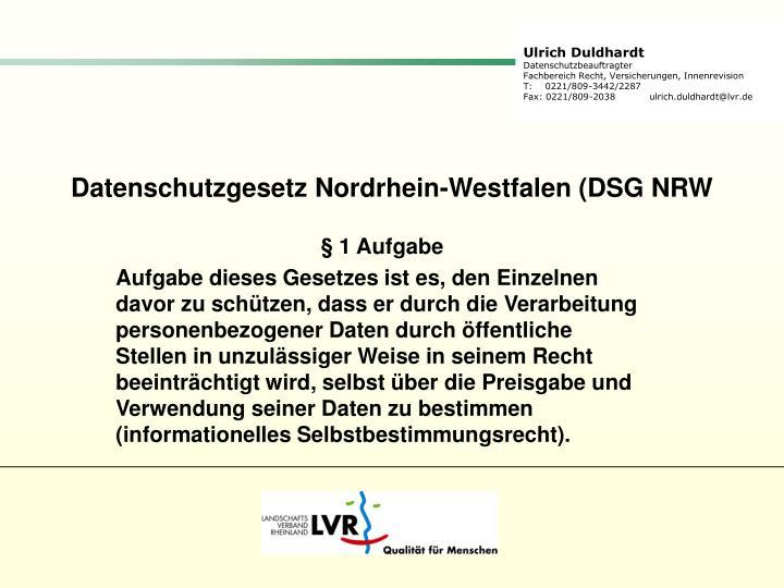 Datenschutzgesetz Nordrhein-Westfalen (DSG NRW