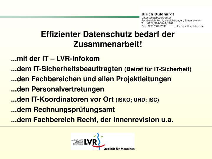 Effizienter Datenschutz bedarf der Zusammenarbeit!