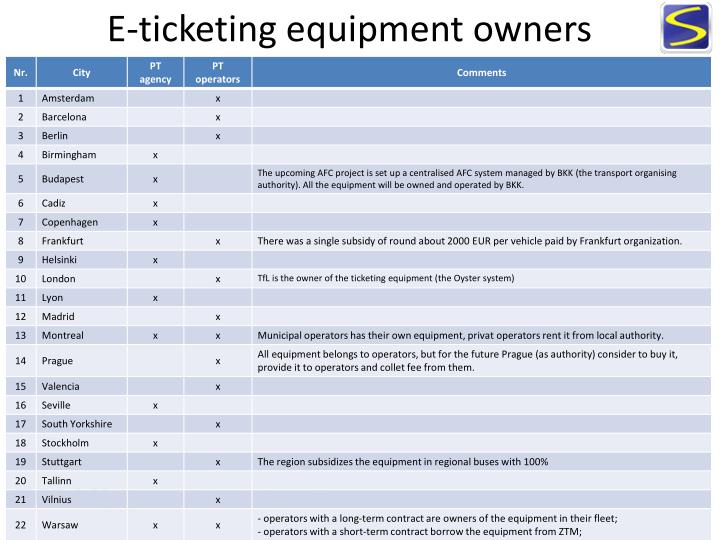 E-ticketing equipment owners