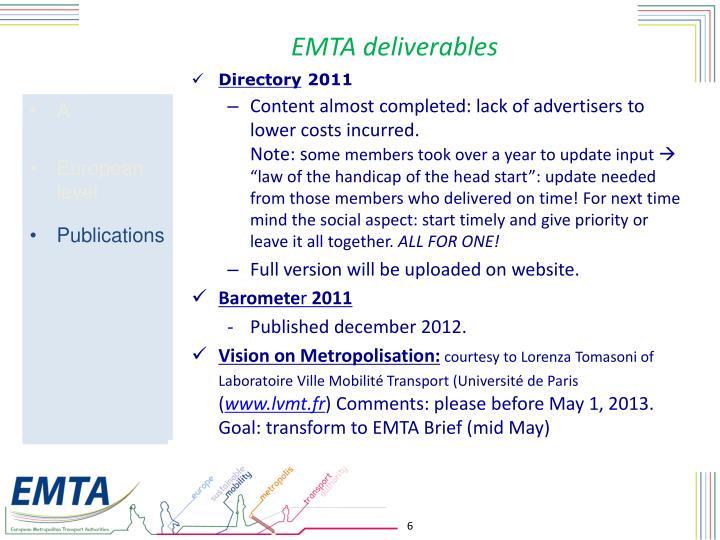 EMTA deliverables