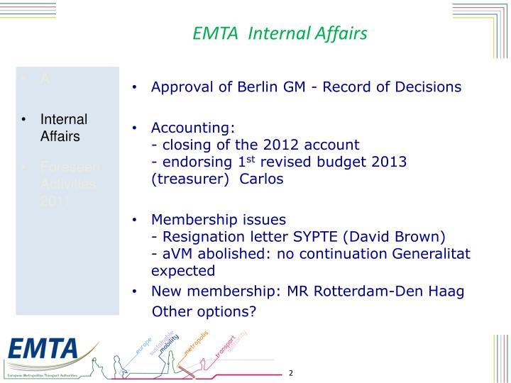 EMTA  Internal Affairs