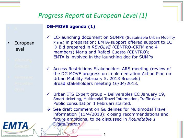 Progress Report at European Level (1)