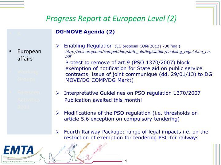 Progress Report at European Level (2)