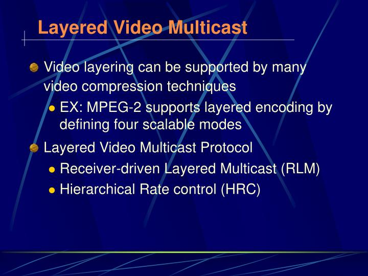 Layered Video Multicast