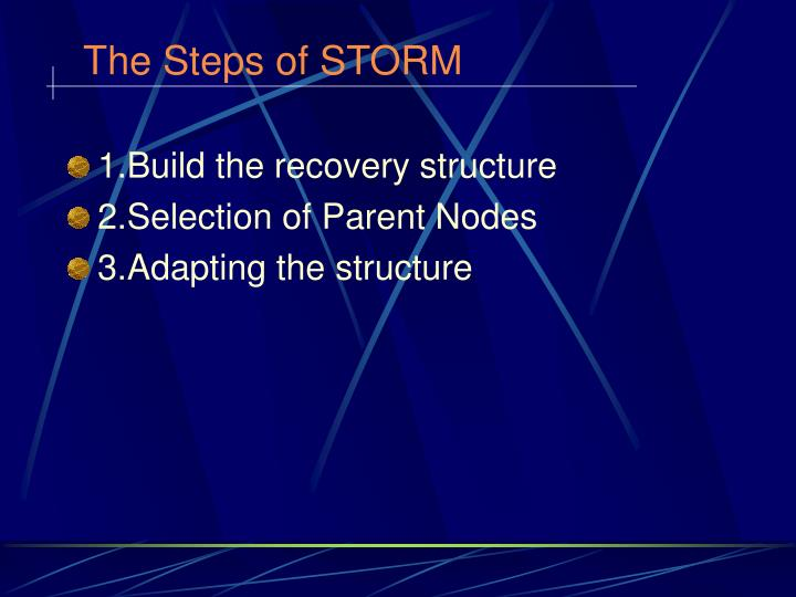 The Steps of STORM