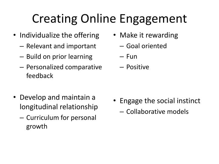 Creating Online Engagement