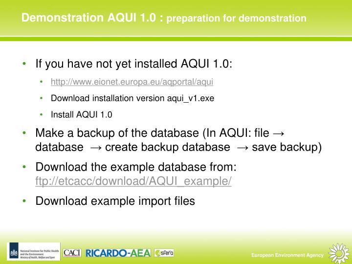 Demonstration AQUI 1.0 :