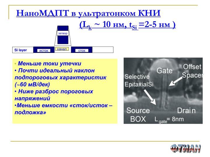 НаноМДПТ в ультратонком КНИ