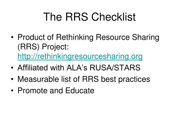 The rrs checklist