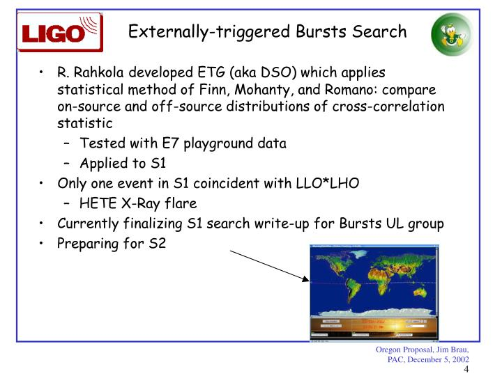 Externally-triggered Bursts Search