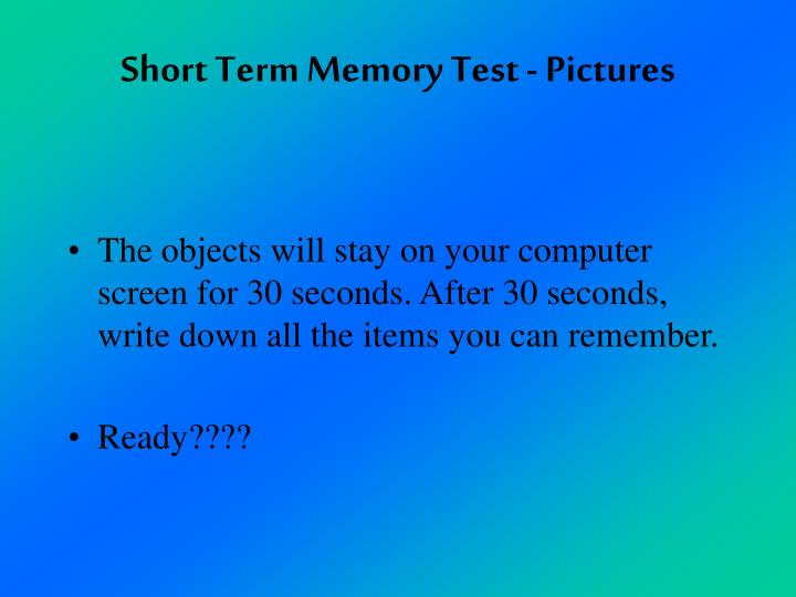 Short Term Memory Test - Pictures